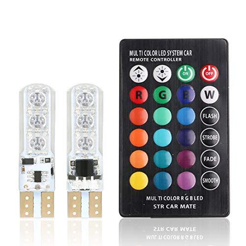 ZREAL 1 Paire T10 RVB Décoration Intérieur de Voiture Largeur Lampe télécommande 12 V 6 SMD Auto Atmosphère Lamps
