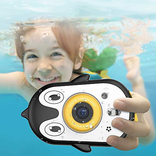 Kids Camera Waterproof 2.4 inch IPS HD Screen Video Recorder Action Preschool Cute pet Underwater Camera for 3-9 Years Old Boys Girls Gifts Toys Camera with Mic and MP3 Function