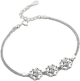 S925 Sterling Silver Four Leaf Clover Bracelet for Women Platinum Plated Zircon