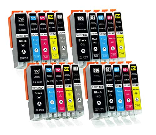 Supply Guy 20 Druckerpatronen mit Chip kompatibel mit Canon PGI-550 CLI-551 passend für Canon Pixma IP-8700 IP-8750 MG-6300 MG-6350 MG-7100 MG-7150 MG-7500 MG-7550