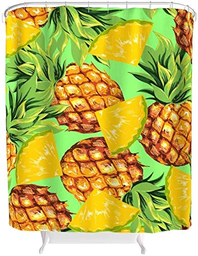 kglkb Duschvorhang Ananas Obst Duschvorhänge Bad Gardinen Gedruckt Hotel Haus Vorhang Waschbare Duschvorhänge Mit Ringen Polyester