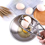 FrideMok Quick Egg Cracker Egg Shell Opener,Stainless Steel Eggshell Cutter Egg Separator Creative Kitchen Tools (Silver)