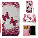 iPhone 6S/6 Case,[Durable] Kickstand Case PU Leather Flip Cover Anti Scratch and Anti Slip Credit Card Holder Case with Magnetic Closure Creative Birthday Gift for Apple iPhone 6S/iPhone 6-Butterfly