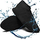Waterproof Shoe Covers Reusable Silicone Cover Shoes Rain Boots for Men Women Kid, Galoshes Rubber Overshoes for Kitchen Outdoors Garden etc (Large, Black)