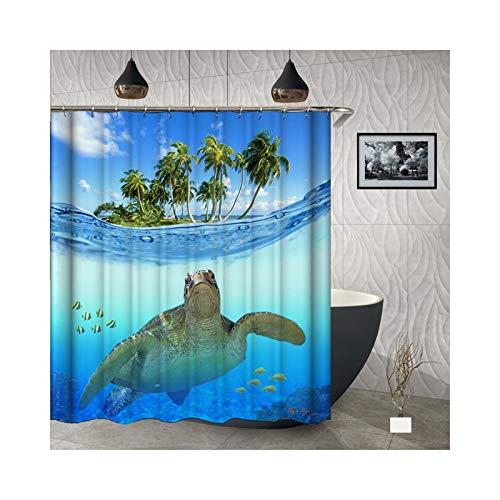 Beydodo Badvorhang Vintage Schildkröte 3D Duschvorhang Antischimmel 150x180 cm