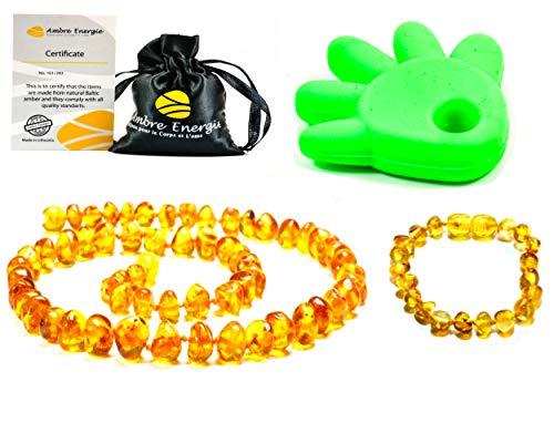 Collar de Ambar 33cm + Pulsera (14cm) - De la Máxima Calidad Certificado Genuino Collar de Ámbar Báltico/Rápido Entrega / 100 Días de Garantía de Devolución de Dinero! (Honey)