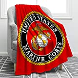US Marine Corps Flag Blanket Soft Comfort Cozy Bed Couch Throw Blanket Fit for Sofa Chair Bed Office Travelling Camping Gift