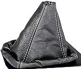 Intersale L&P A0025 Funda Saco Cuero Piel Genuina Negro con Costura Gris de Palanca de Cambios Cambio Velocidad velocidades Marchas Saco de conmutación