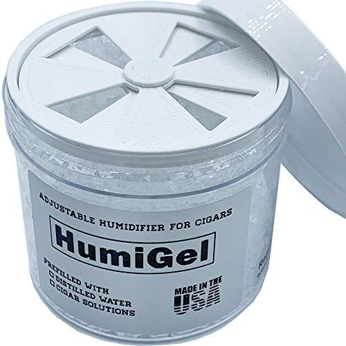 humidifier for cigar humidor, adjustable 65% - 70% RH, 4 oz jar crystal gel, MADE IN USA by HumiGel