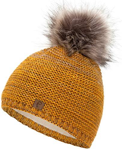 Faera Wintermütze warm gefüttert mit Kunstfell Bommel-Mütze Fleece-Futter Winter Strick-Mütze Beanie-Mütze Damen Herren One-Size, Farbe:Senf