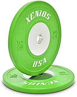Xenios USA Competition Rubber Bumper Plate with Stainless Steel Centre Plate 10 kg, Green, PSBPCRBPL10