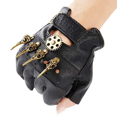 KOGOGO Steampunk Leather Gloves Mens Gothic Fingerless Mittens,Bird Skull
