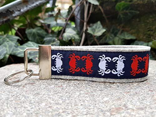 Schlüsselanhänger Schlüsselband Wollfilz hellgrau Webband Krabbe Taschenkrebs blau rot weiß Geschenk!