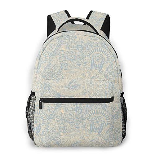 Lawenp School Backpacks Vintage Wallpaper Background for Teen Girls&Boys 16 Inch Student Bookbags Laptop Casual Rucksack