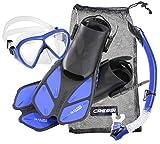 Cressi Tauchset BONETE Deluxe (Tauchmaske, Schnorchel, Flossen & Netzbeutel) - Blue Power - Gr. L/XL...