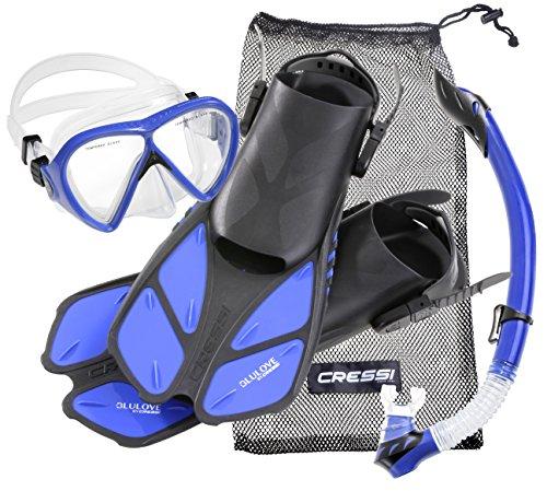 Cressi Tauchset BONETE Deluxe (Tauchmaske, Schnorchel, Flossen & Netzbeutel) - Blue Power - Gr. L/XL - 43/47