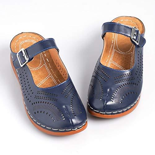 NHMDE dames sandalen, stijlvolle dames wig sandalen zomer comfortabele zachte lage hak retro wandelen persoonlijkheid met cover elegant casual comfortabel ademend donkerblauw waterdicht