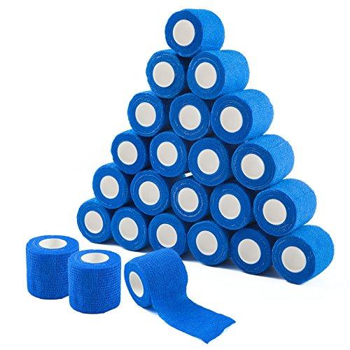 COJJ 24 STK Haftbandage Cohesive Bandage Selbsthaftende Verband Fingerpflaster Wundverband Fixierverband Tierverband Hand Reißen Wasserfest Elastische Binde Für Menschen Haustiere 5cm X 4,5m (Blau)