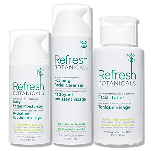 Refresh Botanicals Tripack Everyday Care Kit-Natural and Organic Cleanser (Deep Cleansing), Toner (for all skin type), and Moisturizer for Sensitive, Oily and Dry Skin…