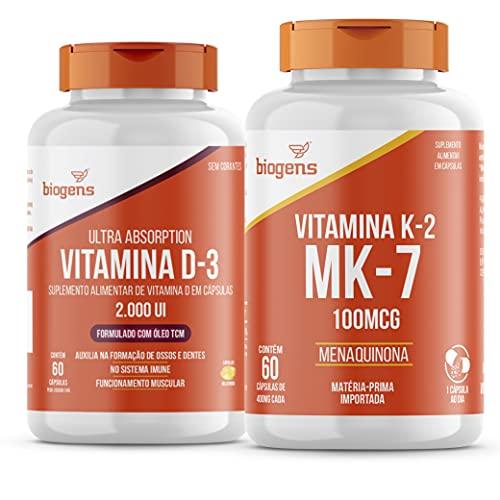 Kit Vitamina D3 2000ui+ K2 Mk-7 100mcg 60 Cápsulas Biogens