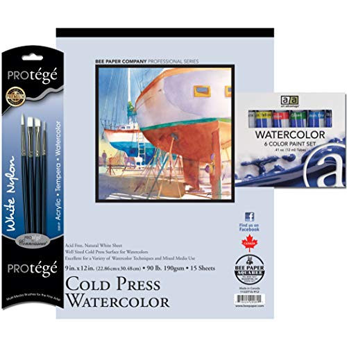 Art Advantage Watercolor Paint, Brushes and Paper Value Pack