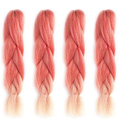 American Dream Premium Kanekelon Tresse pour cheveux Tissages, Dreads et son Style avant Garde Creative, Ombre Rouge au Blond Crème, Lot de 4