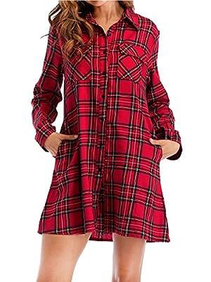 Yomoko Women's Plaid Shirt Dress Long Sleeve Casual Button Down Checkered Shirts Dresses With Pockets