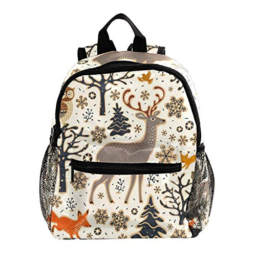 Kids Campus Backpack Animal Fox Reindeer Owl Bag School Designer Cute Casual Backpack Cool Elementary Rucksack for School Children 10x4x12in