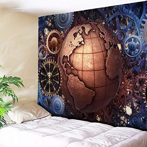 N/A Tapices 3D Impresión Tapiz nórdico de Marruecos, Equipo para Colgar en la Pared, Estampado de Globo, Arte del Desierto Dorado, Alfombra, sofá, Manta, Tapiz Decorativo para el hogar