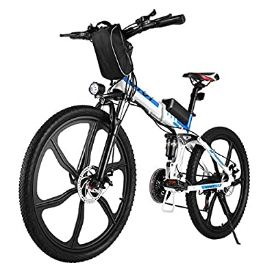 VIVI Folding Electric Bike, Electric Mountain Bike 350W Electric Bicycle 26'' Electric Bikes for Adults with Removable 8Ah Battery, Professional 21 Speed Gears, Full Suspension