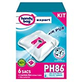 Handy Bag - PH86 - 6 Sacs Aspirateurs, pour Aspirateurs Philips, Electrolux, AEG et Tornado, Progress, Standard-Bag et Zanussi, Fermeture Hermétique, Filtre Anti-Allergène, Filtre Moteur, 6 Sachets Déo Fraîcheur Fruitée