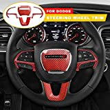 GZSH Steering Wheel Cover Trim Decal Sticker Interior Accessories for Dodge Charger Challenger 2015-2020, Dodge Durango 2014-2020, Jeep Grand Cherokee SRT8 2014-2020, Carbon Fiber Red 4 Pcs