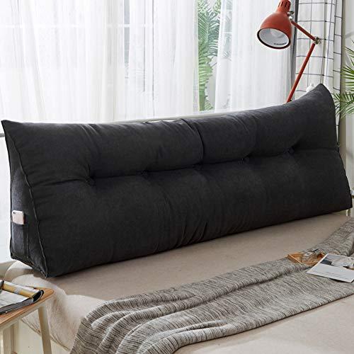 WZR Plüsch Keilkissen Tatamimatte, Abnehmbar Und Waschbar Weicher Rückenstütze Dreieck Zurück Kissen Bett Couch-schwarz 80x50x20cm