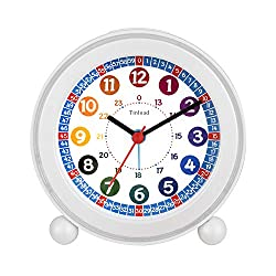 Tinload Analog Alarm Clock for Kids, Telling Time Teaching Design, Silent Non Ticking,Gentle Wake, Increasing Beep Sounds, Battery Operated Snooze and Light Functions