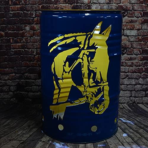Fuchsbau Feuertonnen Feuertonne mit Sportpferd / Pferd Motiv - Gefertigt aus 200L Ölfass - Besondere Feuerstelle für Garten und Terrasse - Hohe Feuerschale mit Rostoptik - 90 x 60 cm