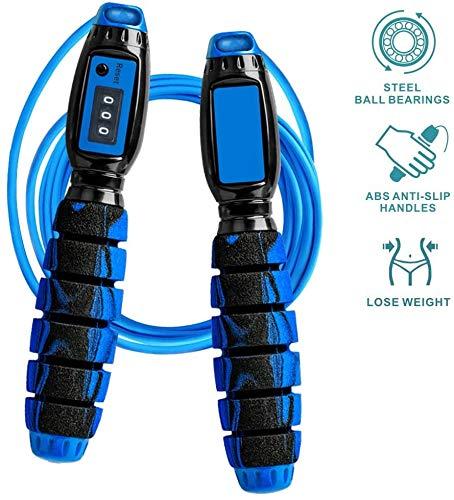 QIYUE Saltar la cuerda con la cuerda ajustable Contador Ligera Skipping con asas antideslizantes for el entrenamiento de ejercicio físico Crossfit for Niños Hombres Mujeres Todas las alturas y niveles