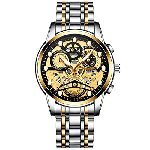 123 Life 2021 Men Watches 3D Hollow Stainless Steel Top Brand Luxury Sports Chronograph Quartz Watch Men (C)