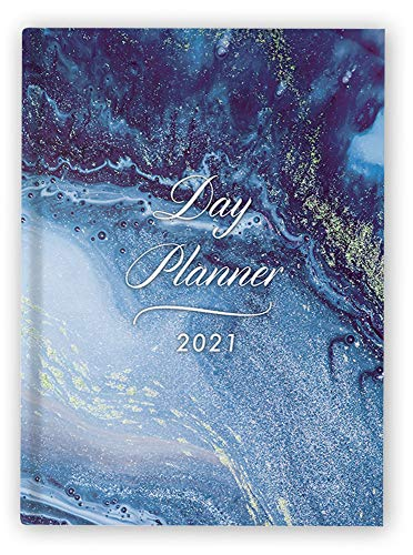 Day Planner 2021 Daily Large: Hardcover Agenda 8.5' x 11' - 1 Page per Day Planner - Blue Marble - January - December 2021 - Dated Planner 2021...
