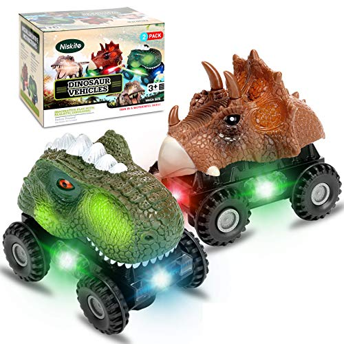 Dinosaur Toys for 2 3 4 Year Olds Boys,Niskite Dinosaur Car for Kids Toddler,Best Gifts for 5-8 Year Old Boy,Most Popular Birthday Presents for Girl Age 6 7 (2 Pack)