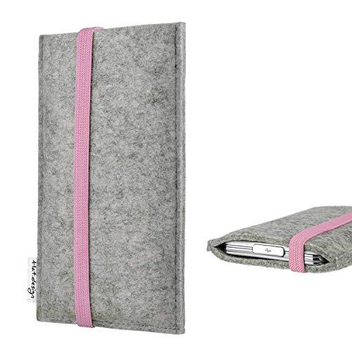 flat.design Handy Hülle Coimbra kompatibel mit Nokia 216 handgefertigte Handytasche Filz Tasche Hülle rosa hellgrau