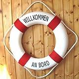 Großer DEKO Rettungsring rot-weiss Ø 50cm Willkommen an Bord -