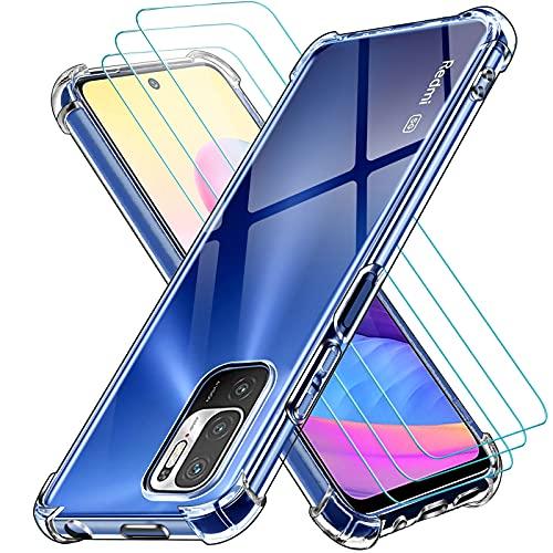 ivoler Funda para Xiaomi Redmi Note 10 5G + 3 Unidades Cristal Vidrio Templado Protector de Pantalla, Ultra Fina Silicona Transparente TPU Carcasa Airbag Anti-Choque Anti-arañazos Caso