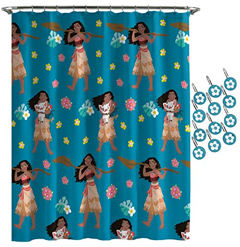 Jay Franco Disney Moana Flower Power Shower Curtain & 12-Piece Hook Set & Easy Use - Kids Bath Features Pua & HEI HEI (Official Disney Product)