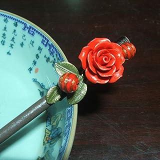 HPYOD HOME 中国風黒檀のレトロな花のヘアピン宮殿のヘアクリップ(赤)ヘアピン