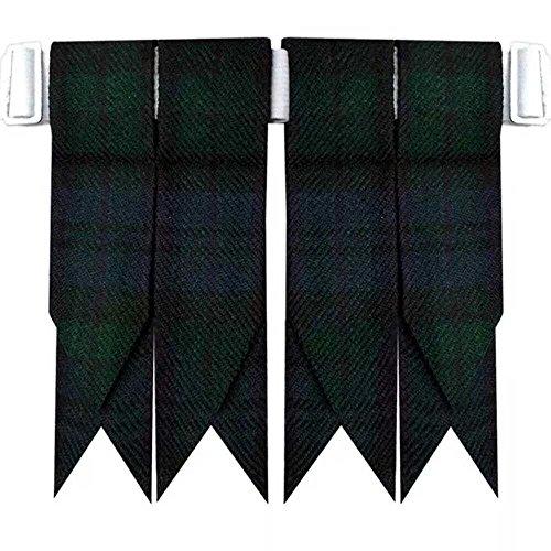 Schwarze Uhr Schottenkaro-Kilt-Schlauchsockenblitze mit schweren Schnallenverstellern