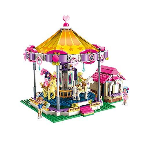 Qman 2016 Cherry Fantasie Pferde Nostalgie Karussell Klemmbaustein-Set für Mädchen Kinder ab 6 Jahre