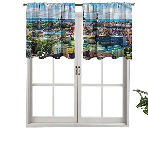 Hiiiman - Cortina de ventana con barra de filtrado de luz para barra, diseño de la ciudad de Tallin, Estonia, juego de 1 unidad, 132 x 45 cm para ventanas de dormitorio, cocina o baño