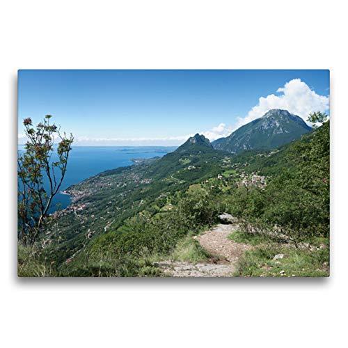 Premium Textil-Leinwand 75 x 50 cm Quer-Format Höhenweg bei Sasso am Gardasee | Wandbild, HD-Bild auf Keilrahmen, Fertigbild auf hochwertigem Vlies, Leinwanddruck von SusaZoom