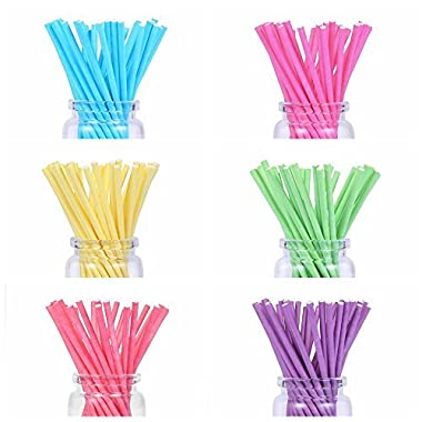 210 count Colored Lollipop Sticks 4 inch 7 Colors (Rose-red, Blue, Yellow, Purple, Green, Watermelon Red, White)