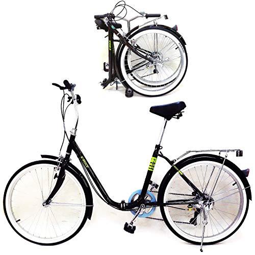 KROCK Bicicleta Plegable R24 Shimano 6 Velocidades Ligera Retro Vintage Neumtico Cara Blanca Soporte Trasero Unisex Negro